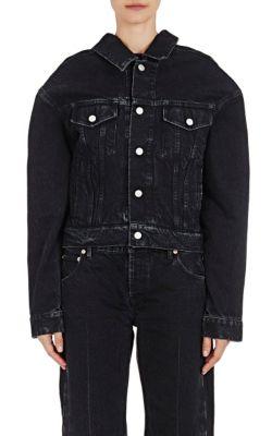 Off-The-Shoulder Denim Jacket - Black Size 40 Fr