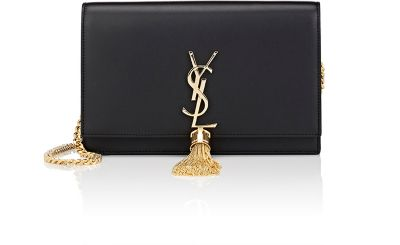 Kate Monogram Ysl Small Tassel Shoulder Bag With Golden Hardware, Black