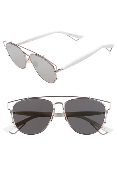 DIOR TECHNOLOGIC 57MM BROW BAR SUNGLASSES - DARK RUTHENIUM/ PINK, MATTE PINK/ WHITE/ GREY
