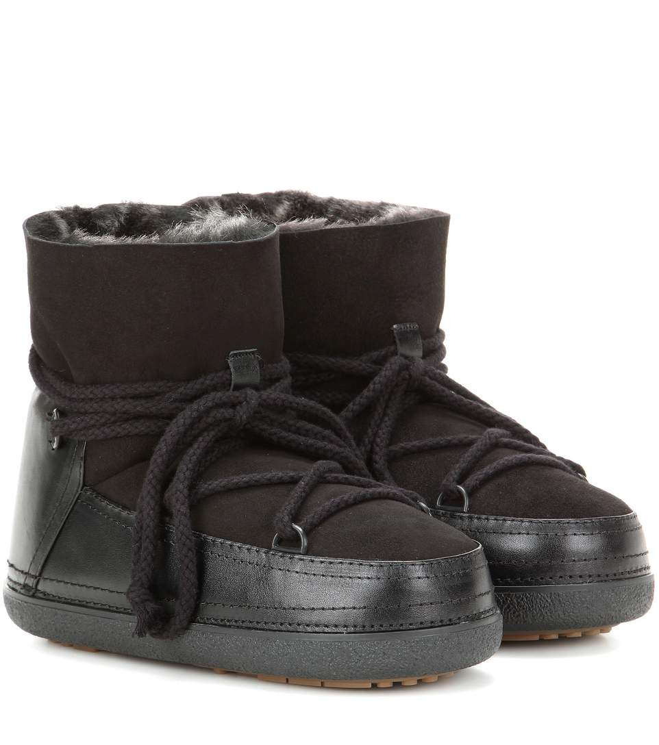 INUIKII Classic Low Fur-Lined Leather Boots in Llack