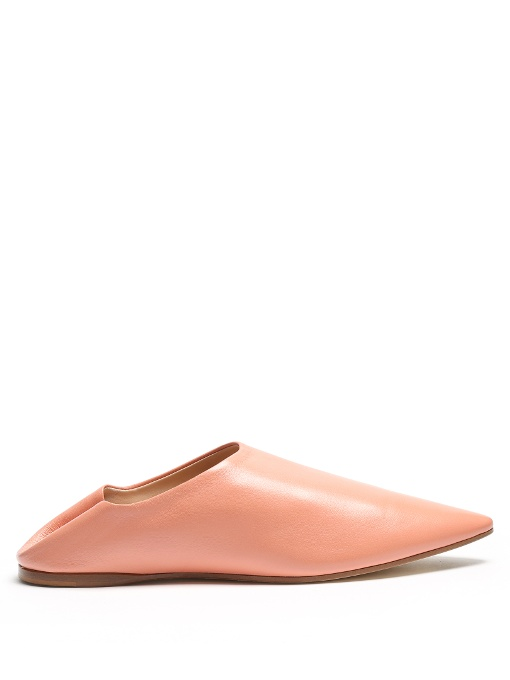 ACNE STUDIOS Amina Collapsible-Heel Leather Loafers in Light Pink