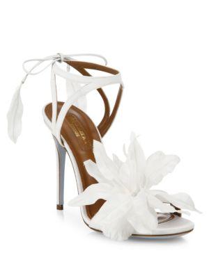 'Floral' 3D Satin Floral Bridal Sandals in White