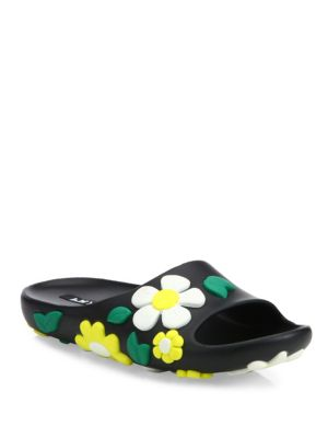 Prada Floral Appliqué Slide Sandals Cost Cheap Price Clearance Amazon Clearance Pay With Visa Cheap Sale Finishline Outlet Best Store To Get S3g6cV