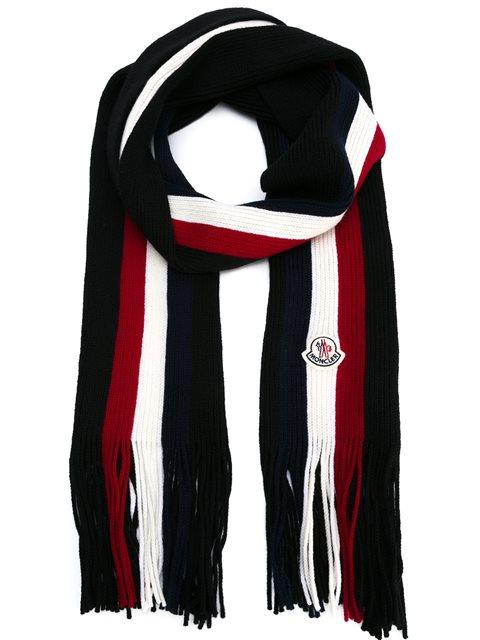 Fringed-End Striped Wool Scarf, Black