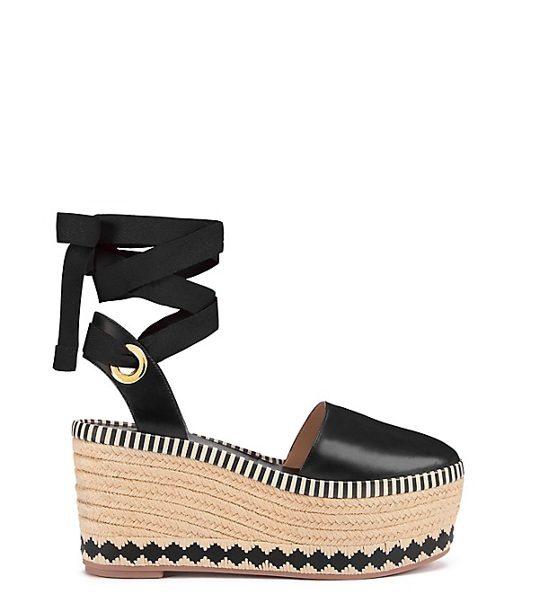 TORY BURCH Dandy 85Mm Leather Wedge Espadrilles, Llack