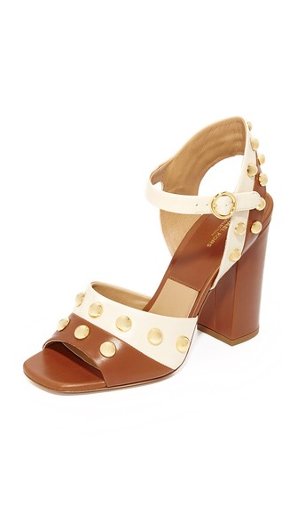 0349186ea94 MICHAEL KORS TRISTA STUDDED TWO-TONE LEATHER BLOCK HEEL SANDALS