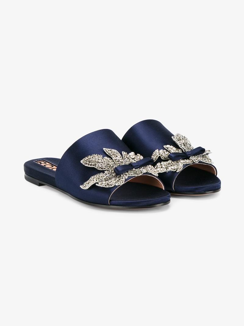Rochas Embellished silk sandals 2WBE2