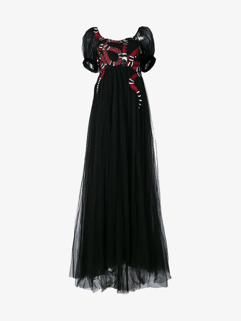 Embellished Embroidered Tulle Gown, Black