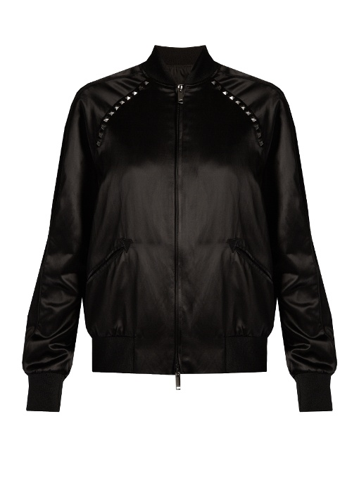 The Rockstud Embellished Satin Bomber Jacket in Black