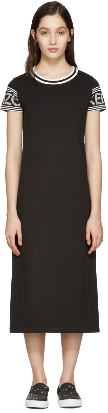 Crewneck Short-Sleeve Midi T-Shirt Dress, Black