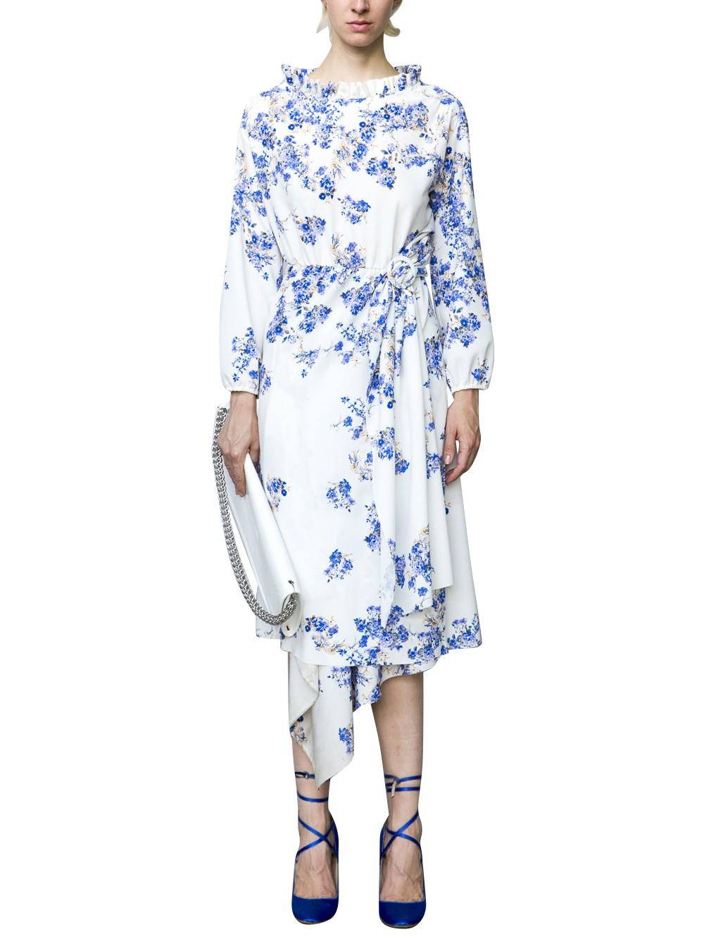 Vetements Asymmetric Floral Cutout Crepe Dress Whiteblue White