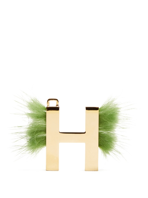 Abclick Letter H Mink Charm For Handbag, Multi, Gold And Apple-Green