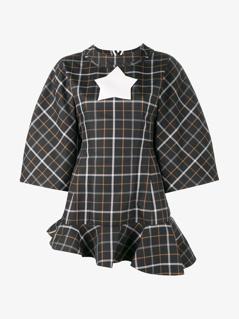 A.W.A.K.E. Jellystar Checked Fluted-Hem Top, Multicolour