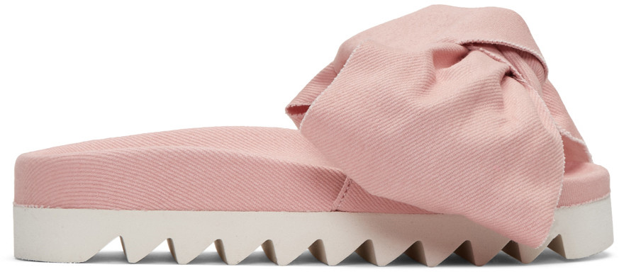 Rose Satin Rouches Slide Sandals in Pink