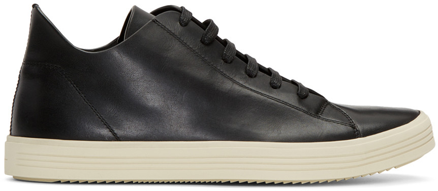 Rick Owens Black & Off-White Mastodon Low Sneakers