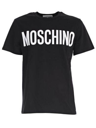 MOSCHINO Logo Printed Cotton Jersey T-Shirt in Black