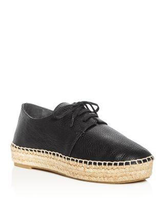Cynthia Leather Lace Up Espadrille Platform Oxfords, Black
