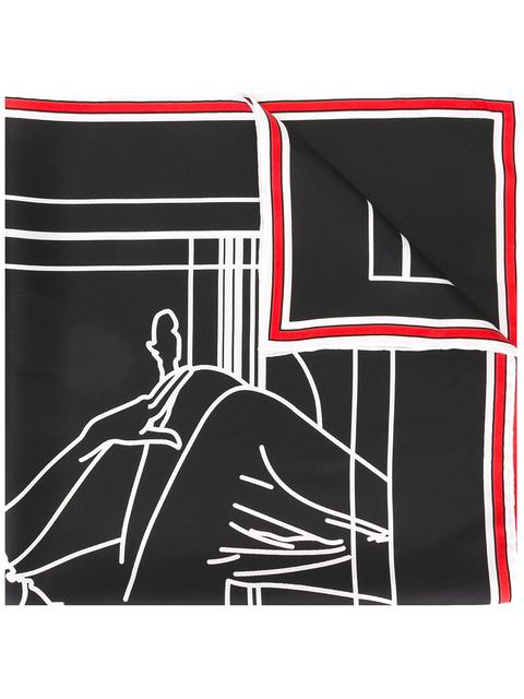 Signature-Print Silk Twill Scarf in Black