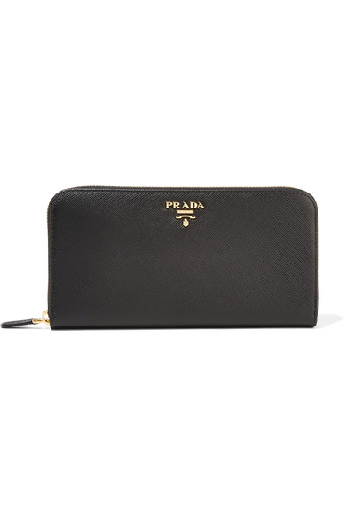 Saffiano Double Bicolor Wallet, Black/Red (Nero+Fuoco) in Eero