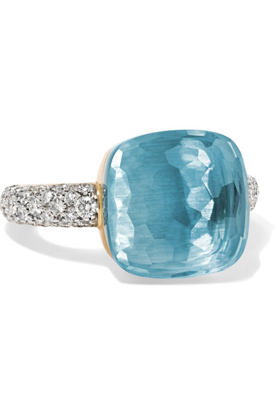 Nudo Maxi Ring With Faceted Blue Topaz And Diamonds In 18K White And Rose Gold, Blue/White