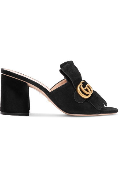 Marmont Fringed Logo-Embellished Suede Mules in Black