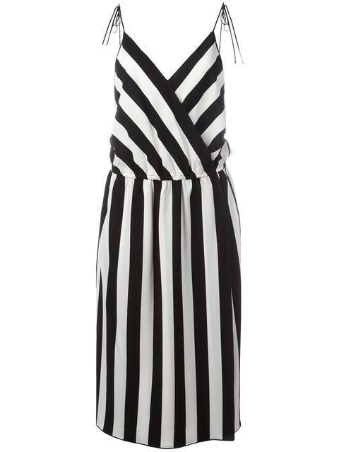 MARC JACOBS Striped Crepe Slip Dress, Black/White in Black/Parchment