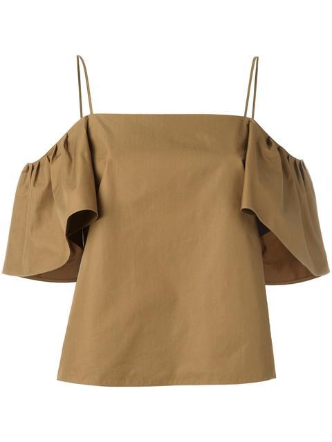 FENDI Cold-Shoulder Flutter-Sleeve Top, Olive, Multi in Hawk