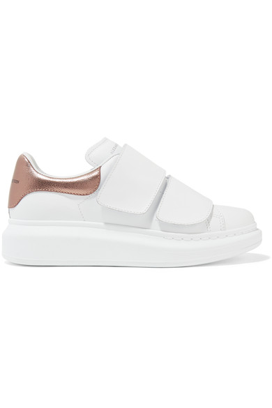 Alexander McQueen Leather Metallic-Trimmed Sneakers Buy Cheap With Credit Card J1GF9qL
