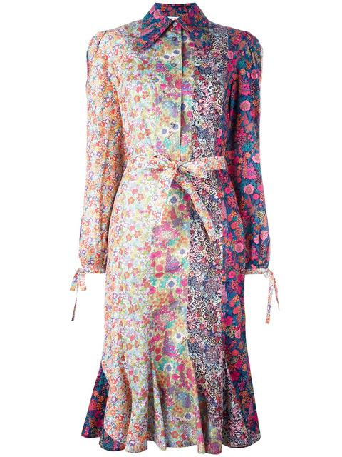 OLYMPIA LE-TAN Floral Print Belted Shirt Dress in Multicolour