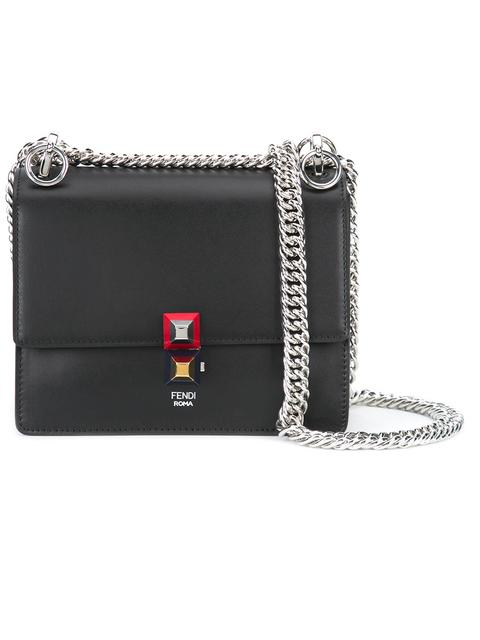 FENDI Kan I Mini Leather Chain Shoulder Bag, Black