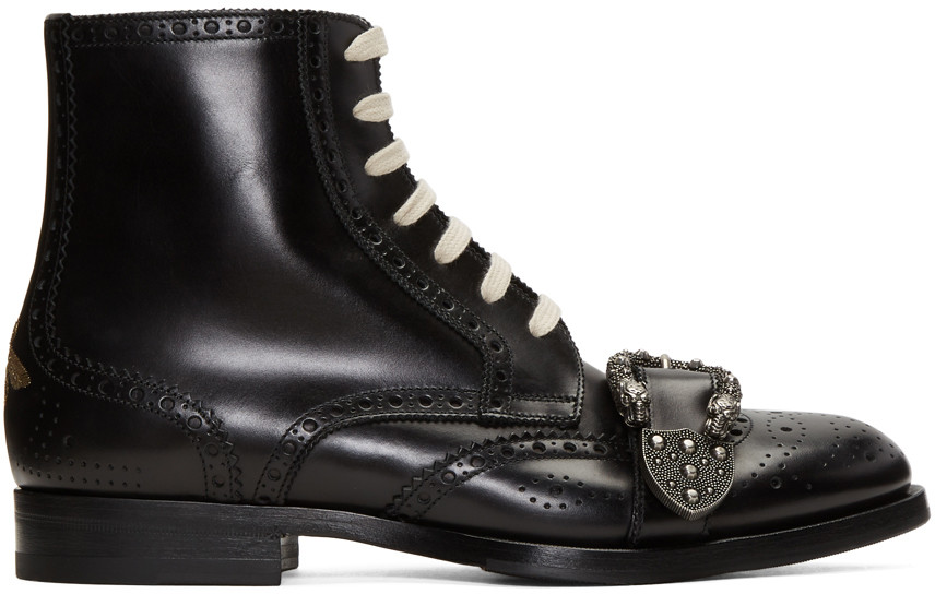 GUCCI Queercore Lace-Up Brogue Boot W/Buckle, Black Leather