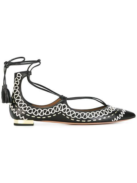 Christy Folk Embroidered Leather Flats in Black
