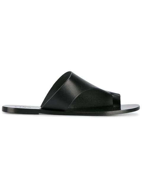 ATP ATELIER 'Rosa' Toe Ring Vegetable Tanned Leather Sandals in Black
