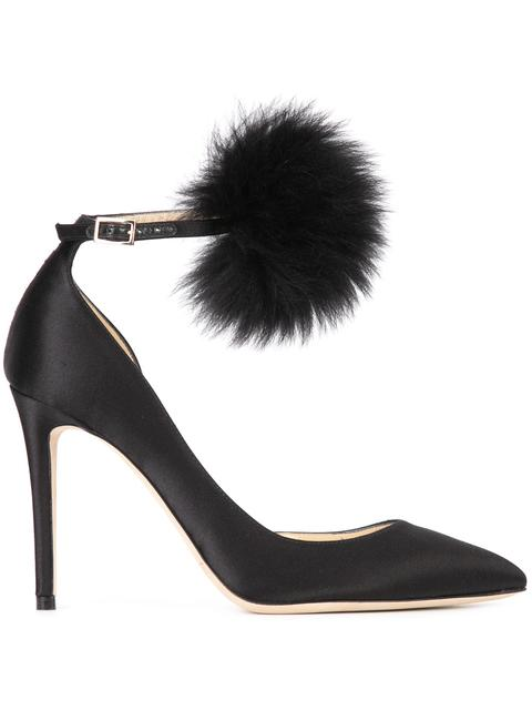 South 100 Black Suede Pumps With Bottle Green Fox Fur Pom Poms