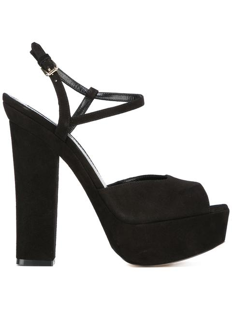 150Mm Velvet Platform Sandals in Black