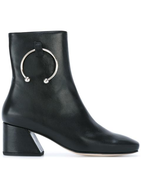 DORATEYMUR 'Nizip' Barbell Hoop Leather Ankle Boots in Black