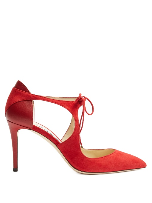 Vanessa 85Mm Cut-Out Suede Pumps, Poppy-Red