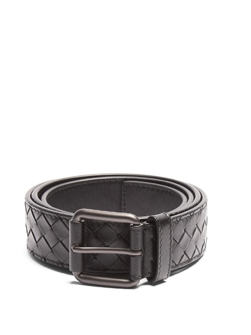 BOTTEGA VENETA Intrecciato Leather 3.5Cm Belt, Black