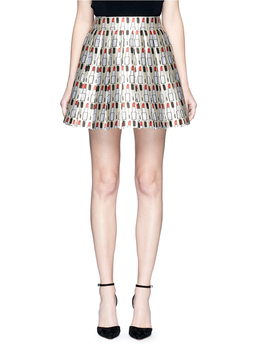 Alice+olivia Woman Pleated Printed Twill Mini Skirt Cream Size 4 Alice & Olivia Buy Cheap Low Shipping Free Shipping Deals 9dCnDFoyFP