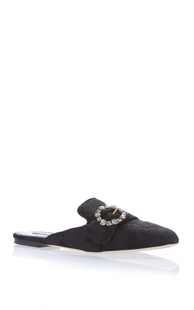 Crystal-Embellished Brocade Backless Loafers, Additional Details Will Be Added When The Item Arrives In Stock