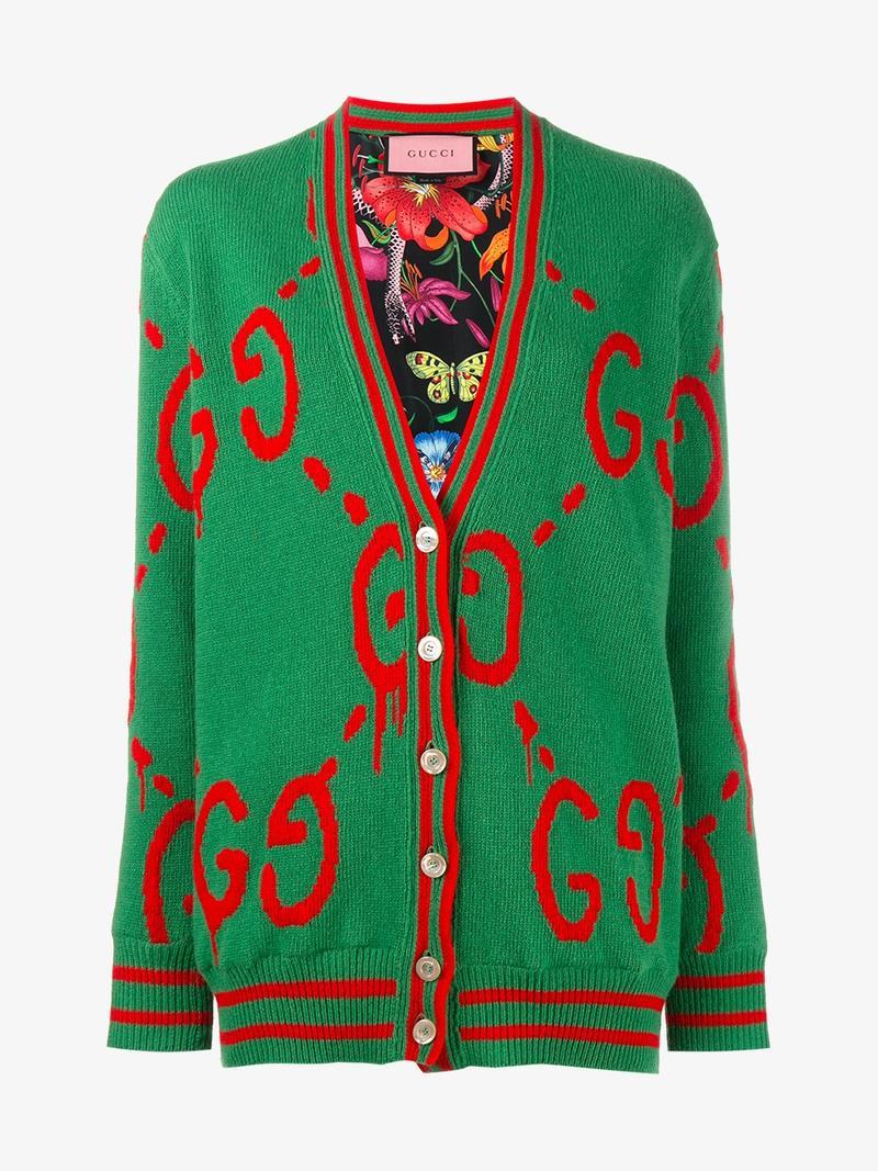 Reversible Wool-Jacquard And Printed Silk-Twill Cardigan, Green