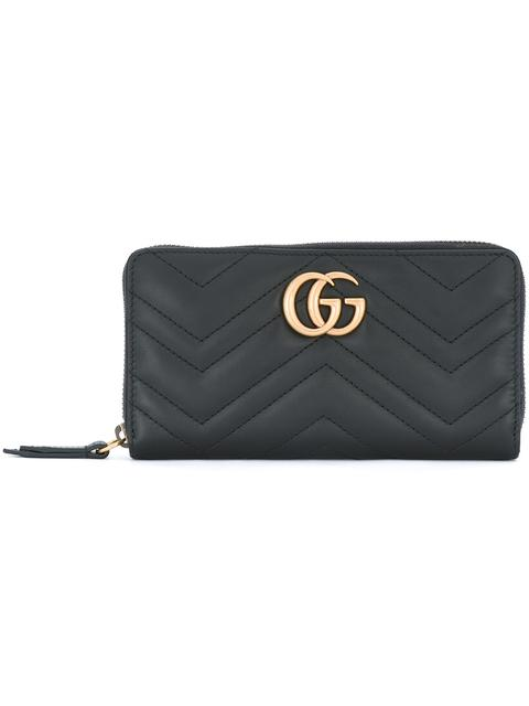 Gg Marmont 2.0 Leather Zip Around Wallet, Black