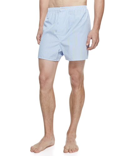 DEREK ROSE James Fine-Stripe Boxer Shorts in Blue