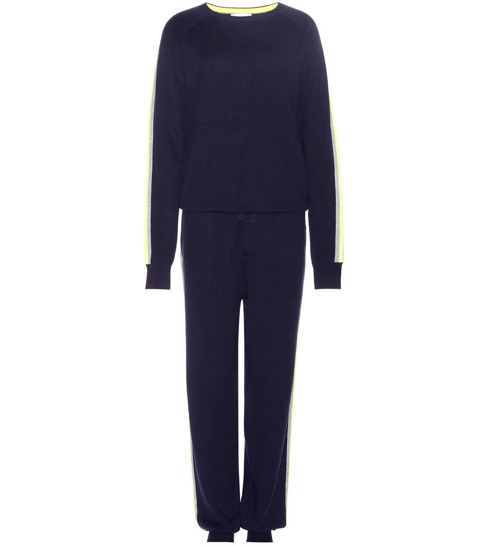 New York Striped Silk-Blend Sweatshirt And Track Pants Set in Navy