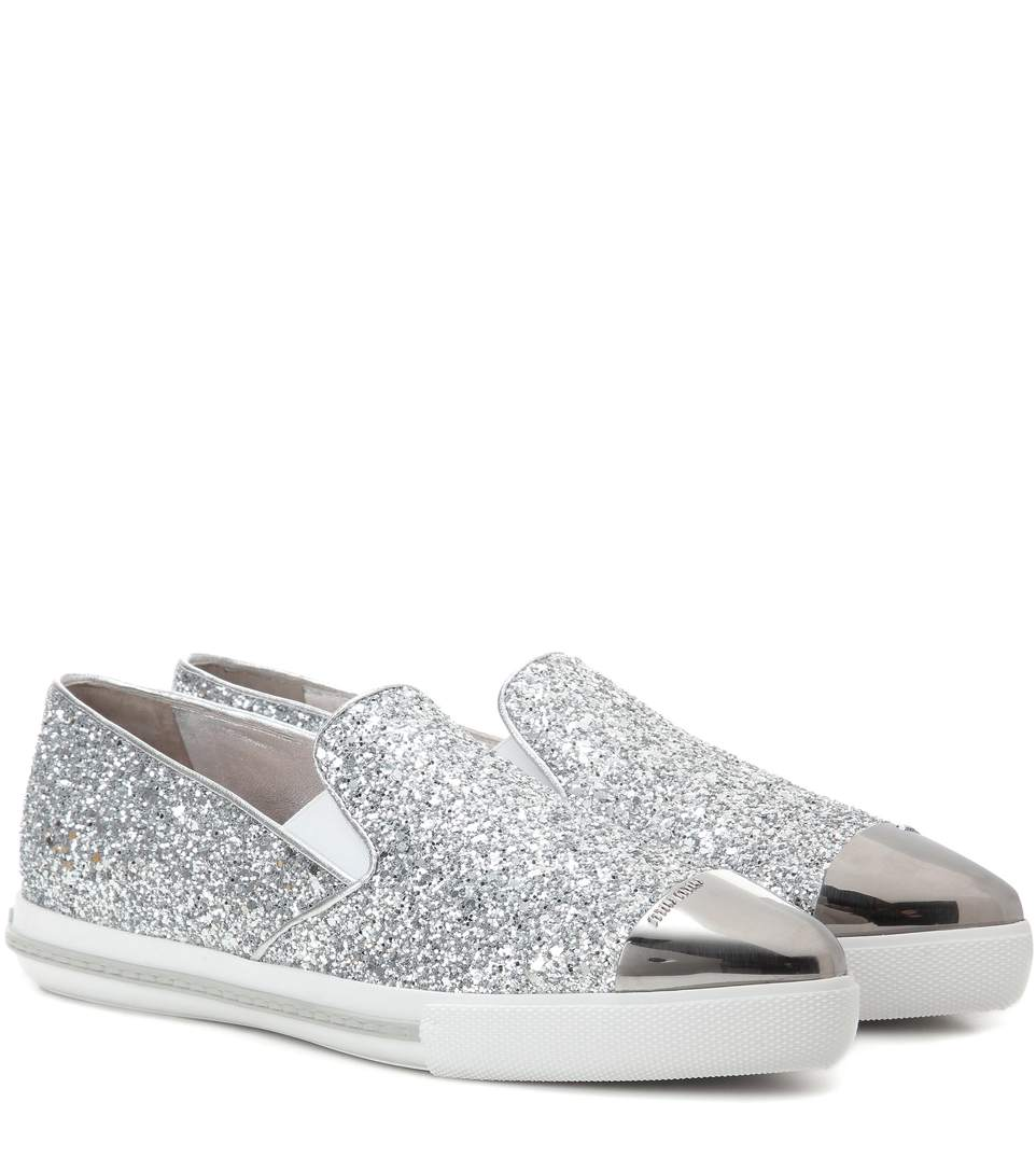 purchase cheap online websites online Miu Miu Glitter Cap-Toe Sneakers WAnAZR2LMy