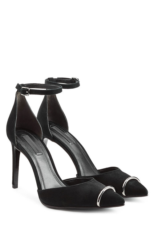ALEXANDER WANG 'Kim' Metal Ring D'Orsay Suede Pumps in Black