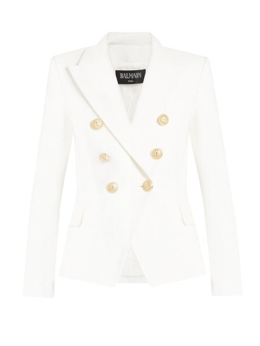BALMAIN Sleeveless Double-Breasted Blazer-Dress, White