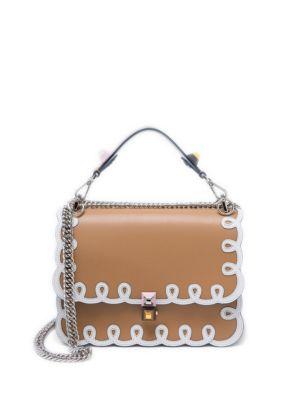 Medium Kan I Embroidered Leather Bag, Light Brown, Tan
