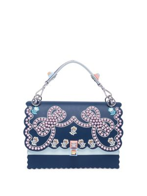 2d835fee684 FENDI Kan I Embellished Metallic Leather Shoulder Bag in Dark Blue ...