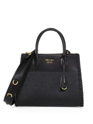 Paradigme Saffiano Leather Handbag, Nero